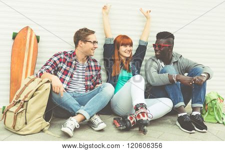 Interracial Group Of Friends Spending Time Outdoor