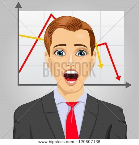 emotional crying businessman in economic crisis with line graph showing negative trend