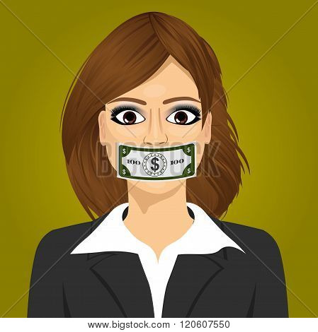 young business woman wuth hundred dollar bill taped to mouth