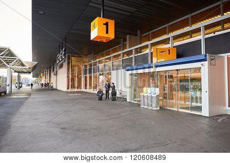 GENEVA, SWITZERLAND - NOVEMBER 19, 2015: Geneva Airport entrance. Geneva International Airport is the international airport of Geneva, Switzerland. It is located 4 km northwest of the city centre.