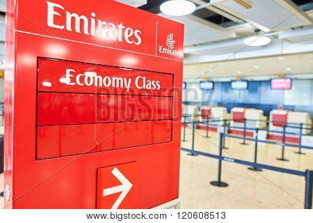 GENEVA, SWITZERLAND - NOVEMBER 19, 2015: check-in area of Emirates airlines in Geneva Airport. Geneva International Airport is the international airport of Geneva, Switzerland.