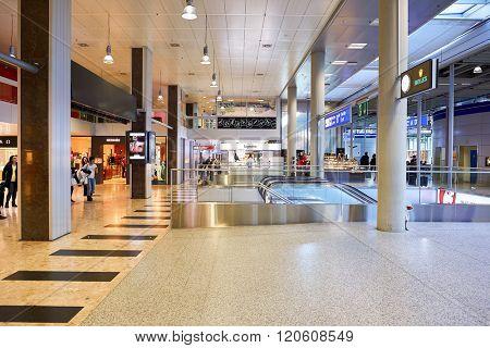 GENEVA, SWITZERLAND - NOVEMBER 19, 2015: interior of Geneva Airport. Geneva International Airport is the international airport of Geneva, Switzerland. It is located 4 km northwest of the city centre.