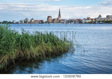 View Over The River Warnow To Rostock