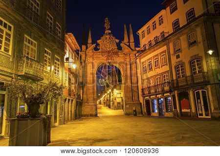 BRAGA, NORTE, PORTUGAL - DECEMBER 6, 2015: Arch of the New Gate in Braga in Portugal during Christmas.