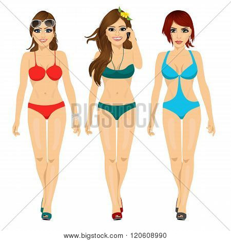three beautiful fashion girls walking in bikini