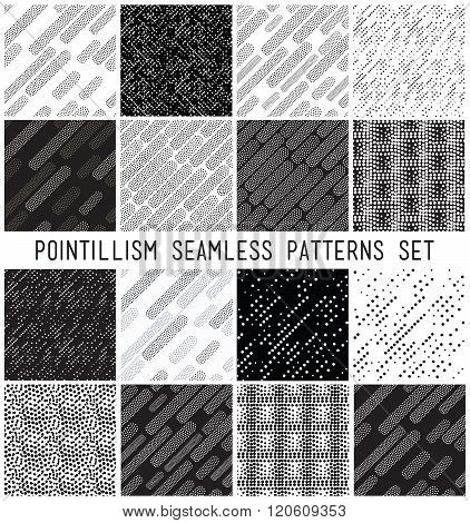 Vector lineal geometric seamless patterns set