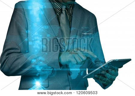 Double Exposure Of A Businessman Using A Tablet Over White Background