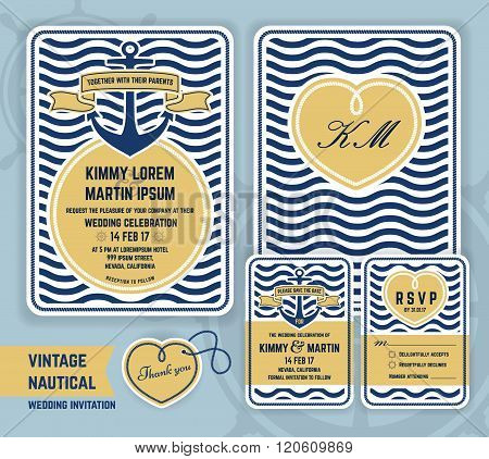 Vintage nautical anchor wedding invitation
