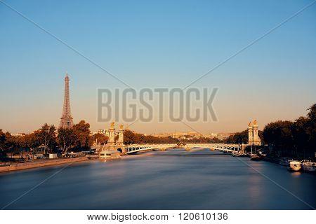 Alexandre III bridge and Eiffel Tower in Paris, France.