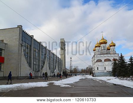 Tver, Russia - February 27. 2016. railway station and Church of a Alexander Nevsky