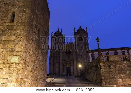 PORTO, NORTE, PORTUGAL - DECEMBER 7, 2015:  Cathedral and Torre Medieval do Porto in Portugal