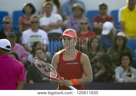 HUA HIN, THAILAND - DEC 31: Angelique Kerber of Germany in action during a match of WORLD TENNIS THAILAND CHAMPIONSHIP 2016 at True Arena Hua Hin on December 31 2015 in Hua Hin Thailand