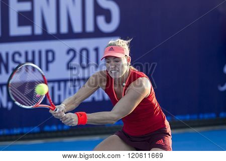 HUA HIN, THAILAND - DEC 31: Angelique Kerber of Germany in action during a match of WORLD