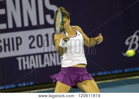 HUA HIN - DEC 31: Sara Errani of Italy in action during a match of WORLD TENNIS THAILAND CHAMPIONSHIP 2016 at True Arena Hua Hin on December 31 2015 in Hua Hin Thailand.