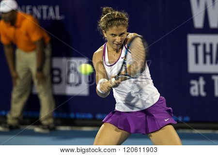 Hua Hin, Thailand -Jan 1, 2016:  Sara Errani of Italy in action during a match of WORLD TENNIS THAILAND CHAMPIONSHIP 2016 at True Arena Hua Hin on January 1 2016 in Hua Hin Thailand.