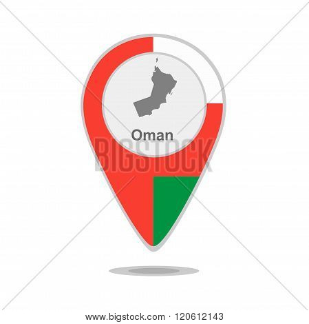A pointer with map and flag of Oman