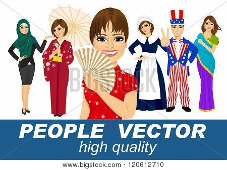 people vector with various characters