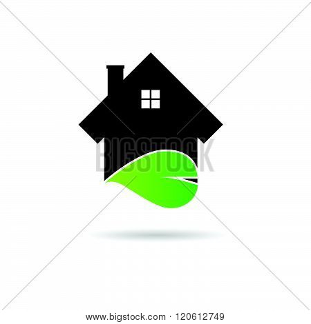 House With Green Leaf Illustration