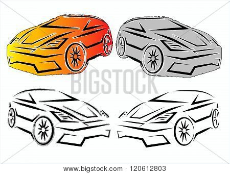 Hatchback colored silhouette. Vector illustration.