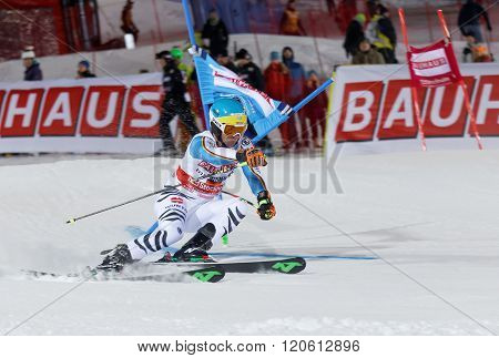 STOCKHOLM SWEDEN - FEB 23 2016: Felix Neureuther (GER) skiing at the Audis FIS Alpine Ski World Cup - city event February 23 2016 Stockholm Sweden