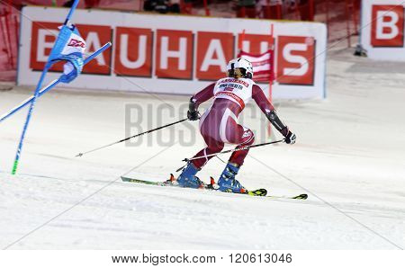 STOCKHOLM SWEDEN - FEB 23 2016: Nina Loeseth (NOR) skiing at the Audis FIS Alpine Ski World Cup - city event February 23 2016 Stockholm Sweden