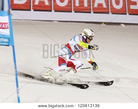 STOCKHOLM SWEDEN - FEB 23 2016: Wendy Holdener (SUI) skiing at the Audis FIS Alpine Ski World Cup - city event February 23 2016 Stockholm Sweden