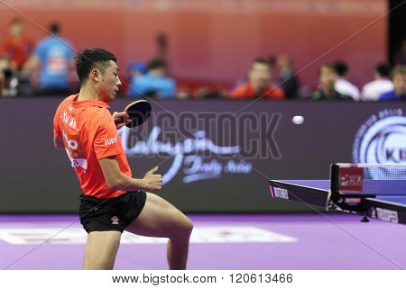 KUALA LUMPUR, MALAYSIA - MARCH 01, 2016: Xu Xin of China plays return shot in his match in the Perfect 2016 World Team Table-tennis Championships held in Kuala Lumpur, Malaysia.