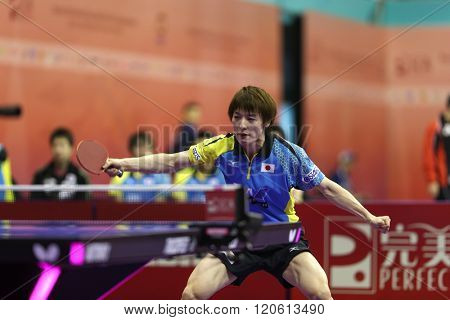 KUALA LUMPUR, MALAYSIA - MARCH 01, 2016: Kenta Matsudiara of Japan plays a return in his match in the Perfect 2016 World Team Table-tennis Championships held in Kuala Lumpur, Malaysia.