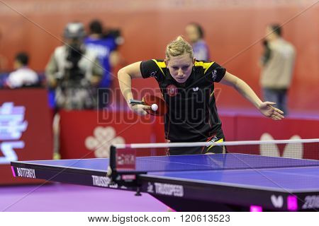 KUALA LUMPUR, MALAYSIA - MARCH 01, 2016: Galia Dvorak of Spain plays return shot in her match in the Perfect 2016 World Team Table-tennis Championships held in Kuala Lumpur, Malaysia.