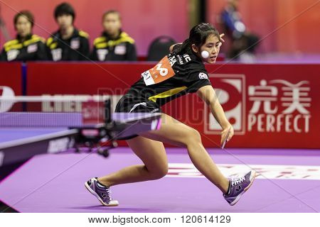 KUALA LUMPUR, MALAYSIA - MARCH 01, 2016: Suthasini Sawettabut of Thailand plays a return shot in her match in the Perfect 2016 World Team Table-tennis Championships held in Kuala Lumpur, Malaysia.