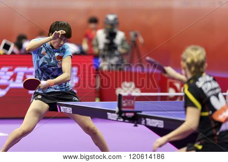 KUALA LUMPUR, MALAYSIA - MARCH 01, 2016: Ding Ning of China plays return shot in her match in the Perfect 2016 World Team Table-tennis Championships held in Kuala Lumpur, Malaysia.