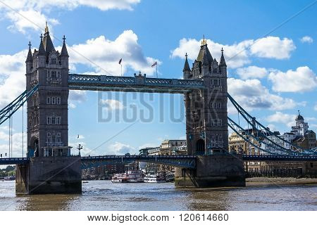 Tower Bridge on blue sky background. London UK