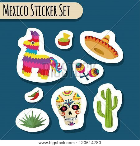Mexico bright sticker set with national Mexican objects: sombrero, skull, agave, cactus, pinata etc.