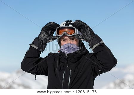 Skier With Goggles And Ski Helmet