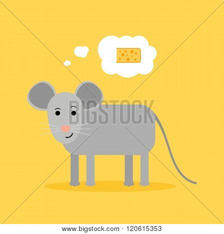 Grey Mouse dreaming aboutnice piece of  cheese