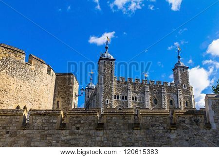 LONDON, UK - JUNE 6, 2015:Tower of London historic castle on the north bank of the River Thames in central London - a popular tourist attraction. View of Tower from outside walls.