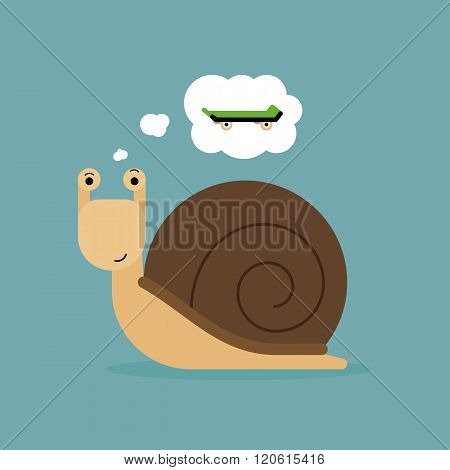 Snail dreaming of a skateboard to move faster