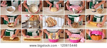 A Step By Step Collage Of Making Potica, Slovenian Nut Roll
