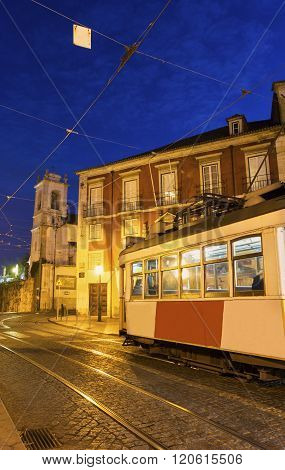 LISBON, LISBON, PORTUGAL - DECEMBER 10, 2015: Traditional remodelado tram in Lisbon in Portugal.