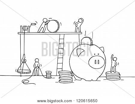 Sketch of save coins in moneybox with working little people. Doodle cute miniature of economy money. Hand drawn cartoon vector illustration for business design and infographic.
