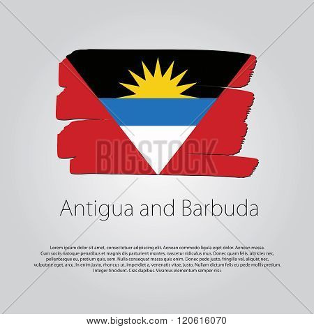 Antigua And Barbuda Flag With Colored Hand Drawn Lines In Vector Format