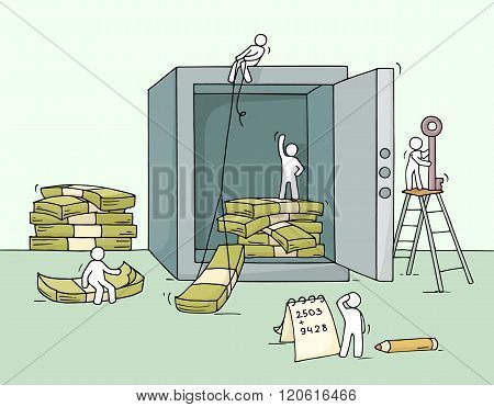 Sketch of istored money in the safe with working little people. Doodle cute miniature of economy cash dollars. Hand drawn cartoon vector illustration for business design and infographic.