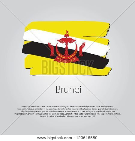 Brunei Flag With Colored Hand Drawn Lines In Vector Format