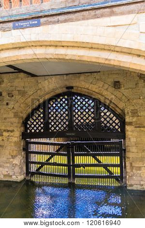 LONDON UK - JUNE 6 2015 : View of the Traitor's Gate in the Tower of London