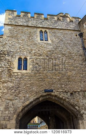 LONDON UK - JUNE 6 2015 : Historic The Bloody Tower  at Tower of London historic castle on the north bank of the River Thames in central London - a popular tourist attraction