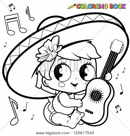 Mariachi baby girl playing the guitar coloring page