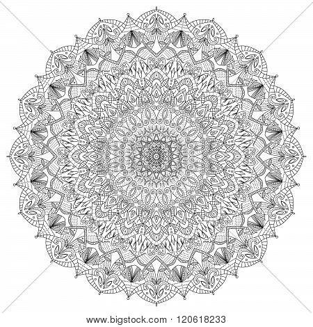 Complex Detailed Black Mandala On White Background