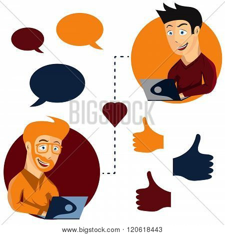 Vector Illustration Of Online Dating Man And Man App Icons In Cartoon Style