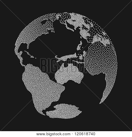 Dotwork Halftone 3D Earth Planet. Engraving Earth Vector Illustration. World Globe Dotwork Travel concept on black background