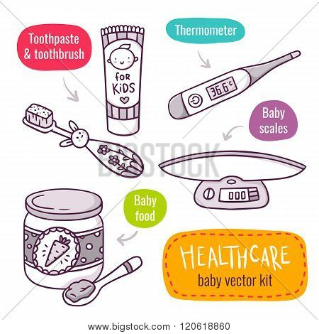 Baby Scales, Baby Food, Thermometer, Toothpaste And Toothbrush For Kids - Vector Line Art Icon Set W